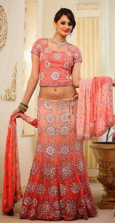 Gorgeous Peach Designer Indian Bridal Lehenga Choli | Saris and Things