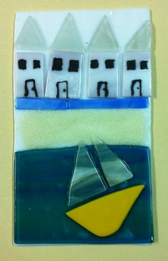 summer sailing scene in fused glass.
