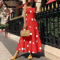 Sexy Polka Dot Sling Sleeveless Maxi Dresses – pretty maxi dresses,maxi dress style,maxi dress summer,maxi dress outfit casual,printed maxi dress Source by EBUYCHIC dress outfits Casual Dress Outfits, Sexy Dresses, Fashion Dresses, Summer Dresses, Summer Maxi Dress Outfit, Backless Dresses, Beach Dresses, Fall Dresses, Elegant Dresses