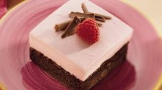 A decadent dessert made with frozen raspberries in syrup and a packaged chocolate brownie mix is a match made in heaven.