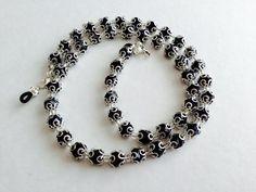 Handmade Black And Silver Eyeglass Chain Holder