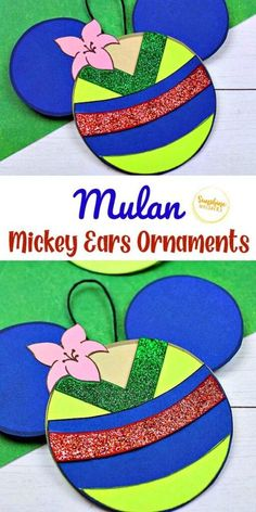 Try out this Mulan Mickey Ears Disney Ornament Craft from Sunshine Whispers! This ornament craft is perfect for little Disney-lovers. Your kids will love hanging this creative ornament on the Christmas tree! | Disney crafts for kids #christmas #ornament #christmasornament #diyornaments #disneycrafts #disneyfun