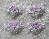 4pc Vintage Chic Pastel Antique Lavender Silk Ribbon Embroidered Daisy Spider Rose Flower Applique Christening Gown Baby Doll Hair Bow