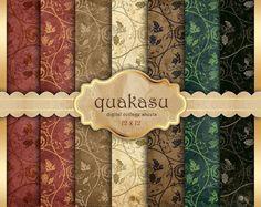 ORIENTAL TEXTURES Digital Paper  Decoupage Paper   by quakasu, $3.20