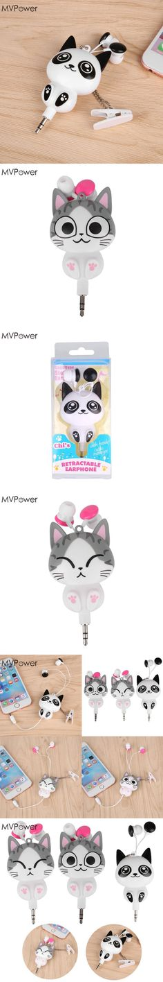 MVpower Cute Cartoon Cat Panda 3.5mm Wired Retractable Earphones Handsfree Headset MP3 Earphones Headphones Earbuds