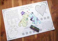 Kids Wedding Activity Page PDF. Custom Favor, Placemat. Your Names & Date. Coloring Book, Guest, Children Entertainment. via Etsy