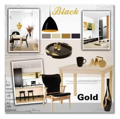 """Black & Gold"" by helenevlacho ❤ liked on Polyvore featuring interior, interiors, interior design, home, home decor, interior decorating, Artek, Bruck, 10 Strawberry Street and kitchen"