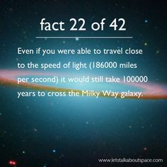 Fact 22 of 42: Even if you were able to travel close to the speed of light (186,000 miles per second) it would still take 100,000 years to cross the Milky Way galaxy.
