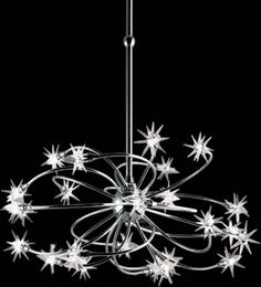 Eurofase 12899-012 Starburst, 24-Light Chandelier, Glass /Chrome From the Illuminations Collection Finish: Chrome Shade: Crystal Swirling explosions of star shaped lights are centered asymmetrically in a warming and celestial design. Modern Chandeliers - Brand Lighting Discount Lighting - Call Brand Lighting Sales 800-585-1285 to ask for your best price!