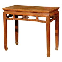 Franya Waide @ 1stdibs | 19th Century Qing Dynasty Half Table with Carved Apron $1,450