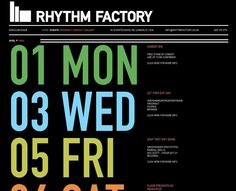 simple events page  http://www.rhythmfactory.co.uk/node/781?c=0