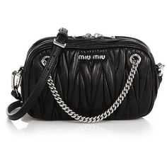 Miu Miu Matelasse Leather Crossbody Bag (€825) ❤ liked on Polyvore featuring bags, handbags, shoulder bags, apparel & accessories, leather cross body purse, leather crossbody, leather shoulder bag, crossbody handbags and crossbody shoulder bags