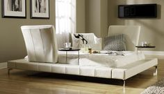 The ModRest leather platform bed from Haiku Designs adapts to your needs, as those needs change. You can easily move the headrests to any spot on the bed, to better serve your needs. Contemporary Bedroom Furniture, Bedroom Furniture Sets, Cool Furniture, Bedroom Ideas, Contemporary Decor, Leather Platform Bed, Platform Bed Designs, Contemporary Side Tables, Affordable Furniture