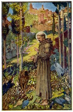 St. Francis preaches to the birds, from the Book of Saints and Heroes by Andrew Lang. Click image to read it at heritage-history.com.