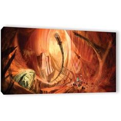 Luis Peres Monuments Of Mars 2 inch Gallery-Wrapped Canvas, Size: 24 x 48, Brown