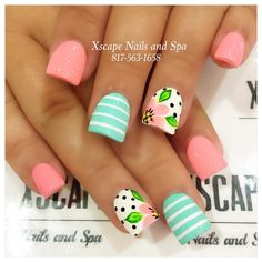 16 Examples Of Disney Nail Art That Will Render You Speechless - Summer floral nails The Effective Pictures We Offer You About diy clothes A quality picture can te - Pokadot Nails, Little Mermaid Nails, Mint Nails, Beach Nails, Nagel Gel, Fancy Nails, Trendy Nails, Flower Nails, Creative Nails