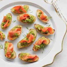 Fingerling Potatoes with Avocado and Smoked Salmon | Could also swap salmon for salami MyRecipes.com
