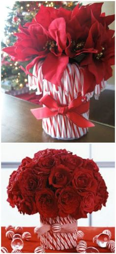 Candy Cane Vase - 21 Beautifully Festive Christmas Centerpieces You Can Easily DIY