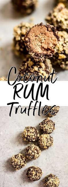 These easy rum truffles are vegan, gluten-free, and make a fun little no-bake treat that's perfect for the holidays. #rumtruffles #chocolatetruffles #vegandessert #christmastruffles