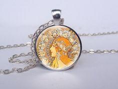 Red Zodiac Mucha Maiden Glass Art Picture Pendant Necklace via Etsy