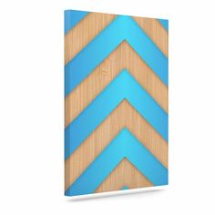 "Marta Olga Klara ""Turquoise Chevron"" Blue Brown Canvas Art"