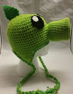 Green Peashooter Pea Shooter Crochet Hat Beanie Stocking Cap