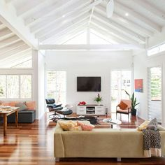 Open plan living area - contemporary - living room - brisbane - by Skyring Architects Design Your Home, House Design, Living Area, Living Spaces, Wc Decoration, Cheap Hardwood Floors, Victorian Living Room, Bedroom Floor Plans, Coastal Living Rooms