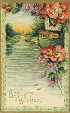 Vintage postcard with scene and flowers