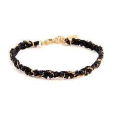 Ettika Black Braided Thread Bracelet with Jet Rhinestones Intertwined
