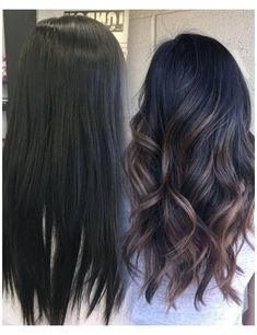 Balayage Straight, Brown Hair Balayage, Hair Color Balayage, Black Balayage, Balyage On Black Hair, Fall Hair Color For Brunettes, Hair Color For Black Hair, Brown Hair Colors, Dark Fall Hair Colors