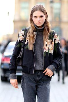 Model Street Style: Caroline Brasch Nielsen's Bomber Jacket - The ...