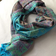 Thai Pashmina infinity scarf with zippered pocket - Turquoise - She Rocks A Bun Breastfeeding In Public, Struggle Is Real, Pashmina Scarf, Business Outfits, Favorite Color, Traveling By Yourself, Paisley, Turquoise, Zipper