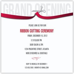 Ribbon Cutting Corporate Invitations                              …