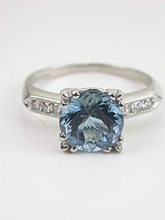 auquamarine antique ring | Aquamarine and Diamond Antique Engagement Ring, RG-3196