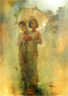 Artist: Hu Jun Di 胡峻涤Born in 1962 in Jilin Province, China. He graduated from Sichuan Fine Art Institute in Hu's work has been exhibited and collected in China and other Asian countries as well. Art And Illustration, Figure Painting, Painting & Drawing, Kunst Online, Umbrella Art, Umbrella Painting, Yellow Umbrella, Art Japonais, Wow Art