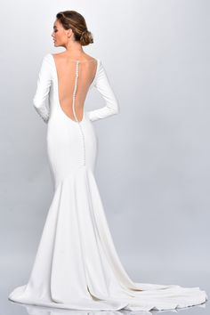 Beautiful brand new crepe long sleeve wedding dress with illusion open back. Western Wedding Dresses, Bohemian Wedding Dresses, Used Wedding Dresses, Wedding Dress Sizes, Long Sleeve Gown, Long Sleeve Wedding, Long Sleeve Bridal Dresses, Theia Bridal, Bridal Gowns