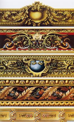 examples of gilded dado/borders (via arteverday) Carving Designs, Ornaments Design, Flower Ornaments, Wow Art, Border Design, Grafik Design, Architectural Elements, Oeuvre D'art, Wood Carving