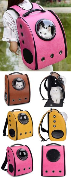 Breathable Grommet Space Capsule Backpack - - Susan's Page Animals And Pets, Cute Animals, Pet Bag, Cat Supplies, Pet Carriers, Dog Crate, Animal House, Pet Accessories, Cat Toys