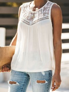 Fabric : Polyester Color : Blue, Black, White Style : Sexy Pattern : Solid Color The post Blouse Polyester Jewel Neck Sexy Sleeveless Tops appeared first on Power Day Sale. Lace Vest, Plus Size Shirts, White Style, Black White, Chiffon Shirt, Lace Tops, Streetwear Fashion, Blouses For Women, Street Wear
