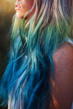 vivid blue through to golden blonde ombre