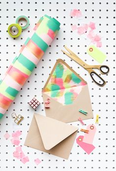 """Make your own """"fancy"""" envelope liners with wrapping paper."""