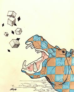 #illustration #artist #art #drawing #artwork #animal #hippo #sketch #イラスト #アート