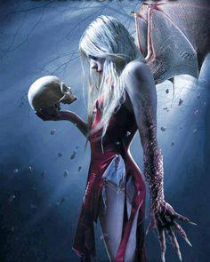 demon woman w/ skull