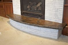 """stained+sandstone+hearth   ... want to tile the hearth. 2"""" with a stone edge profile and acid stain"""