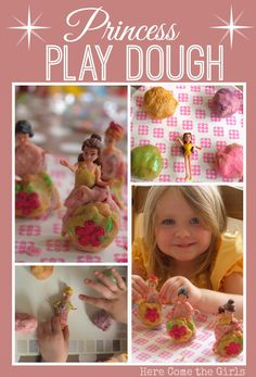 Hoe made play dough. Make your dolls extra pretty with play dough Playdough Activities, Craft Activities For Kids, Preschool Crafts, Activity Ideas, Preschool Ideas, Princess Activities, Homemade Playdough, Kids Party Themes, Kids Corner