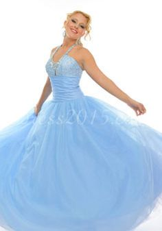 Halter Sequined Bodice Rhinestone Long Ball Gown Prom Dress