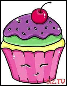 Cupcakes desenho fofo 26 ideas for 2019 Cute Food Drawings, Cute Kawaii Drawings, Art Drawings For Kids, Kawaii Art, Disney Drawings, Drawing For Kids, Easy Drawings, Cupcake Clipart, Candy Drawing