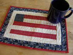 AMERICAN FLAG Quilted Mug Rug, place mat, or table runner.