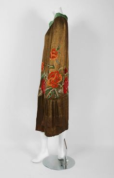 1920's Opulent Metallic-Lame Embroidered Roses Beaded Jeweled Flapper Coat Cape | From a collection of rare vintage coats and outerwear at https://www.1stdibs.com/fashion/clothing/coats-outerwear/