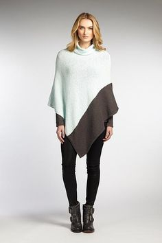Organic cotton poncho, 'Graphite Ice' - Two-tone 100% Organic Cotton Fluffy…